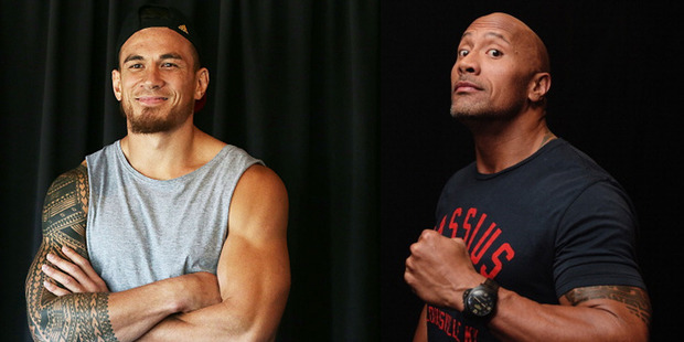 Loading Sonny Bill Williams and The Rock. Photo / Getty
