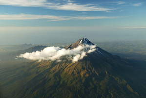 A search and rescue operation is under way for a climber hit by falling rocks on Mt Taranaki. Photo / File