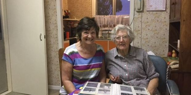 Jennie Polyblank, 69, left, reunited with her former nanny Muriel Thompson, 90, at Mrs Thompson's Opotiki home. Photo / Supplied