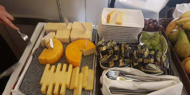 Cheeses served in the Business Class cabin of a Cathay Pacific 777. Photo / Winston Aldworth