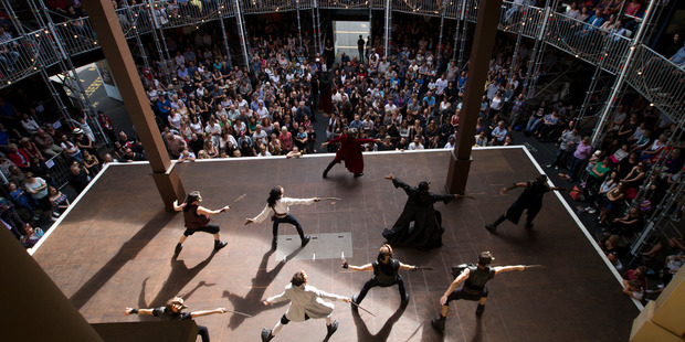 A performance of Romeo and Juliet in the replica Shakespeare Pop-up globe.