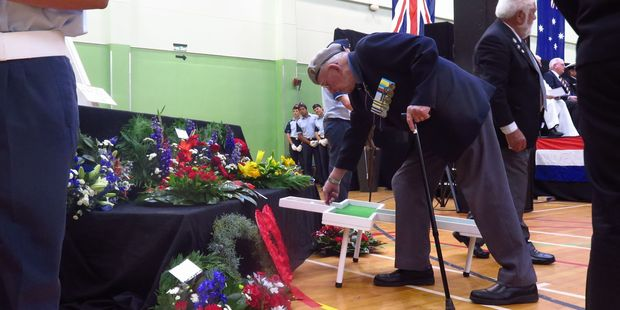 Poppies are laid during the Whakatane Civic Service. Photo/Katee Shanks