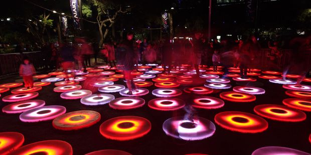 Interactive stepping circles or stones that light and change colour.