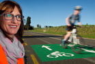 Rotorua Lakes Council sustainable transport team leader Jodie Lawson on the new CyWay on Morey St. PHOTO/STEPHEN PARKER