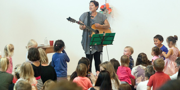 Anika Moa performing songs from her latest album for children at Tauranga Art Gallery this afternoon. Photo/Andrew Warner