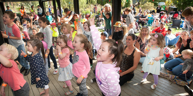 Peyton Robinson, 4, front, enjoyed the show and won the best dancing prize.  Photo/Ben Fraser