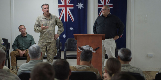 Visit to Taji Military Camp by Minister of Defence Hon Gerry Brownlee, Leader of the Opposition, Mr Andrew Little and Chief of Defence Force, LTGEN Tim Keating. Photo / Supplied