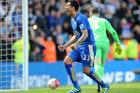 Leicester City's Leonardo Ulloa celebrates. Photo / AP.