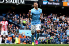 Manchester City's Sergio Aguero celebrates his sides second goal from the penalty spot. Photo / AP.