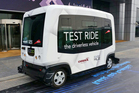 A ten-seater driverless car is being test run in Dubai, where the leader announced plans to have 25 per cent of all trips be by driverless vehicles by 2030. Photo / AP