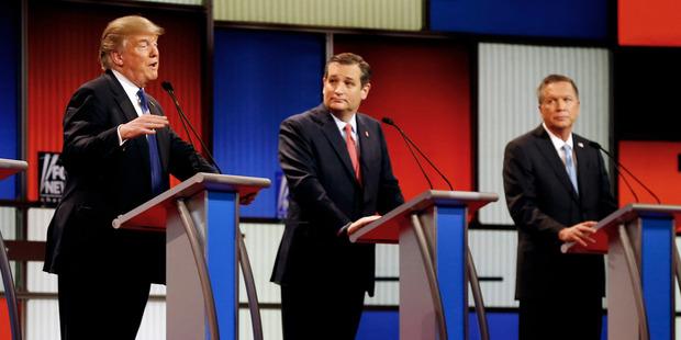 Republican presidential candidates Donald Trump, Ted Cruz and John Kasich. Photo / AP