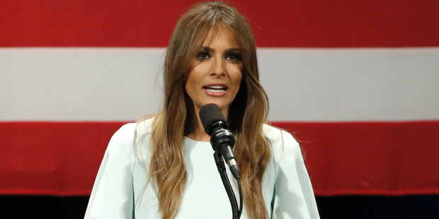 Melania Trump, wife of Republican presidential candidate Donald Trump addresses the crowd during a rally. Photo / AP