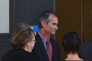 Thomas O'Neill (centre) at court in Dunedin in March this year. Photo / Otago Daily Times