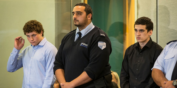 Loading Leonard Nattrass-Berquist, left, and Beauen Wallace-Loretz, right, stand in the dock at the High Court at Auckland during their trial for the murder of Ihaia Gillman-Harris. Photo / Greg Bowker