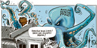 Inky the octopus - on the rampage as Auckland house prices skyrocket again. Illustration / Rod Emmerson
