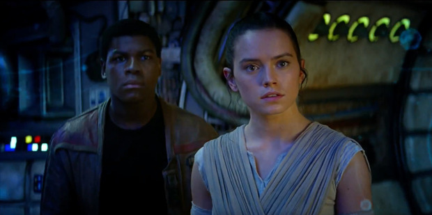 A scene from the movie, Star Wars: The Force Awakens.