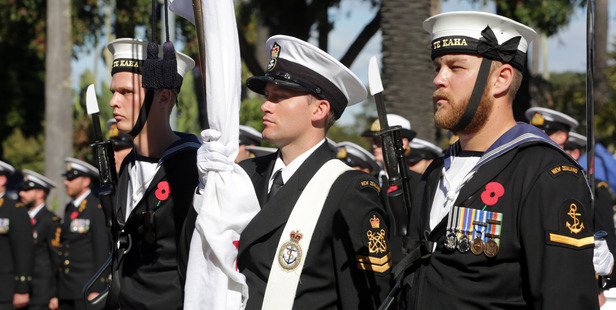 FREEDOM: Sailors from the navy frigate HMNZS Te Kaha marched through Napier on Saturday, having been handed a charter by Napier Mayor Bill Dalton, signed by all Hawke's Bay mayors. PHOTO/PAUL TAYLOR