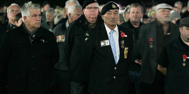 Veterans at the Anzac Dawn service in Napier. PHOTO/Warren Buckland