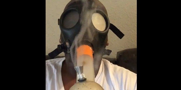 A screenshot from the video of Laremy Tunsil that surfaced on social media minutes before the 2016 NFL draft. Photo / Twitter