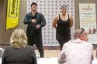 Neihana Mackey (left) and Renne Mackey at the audition. Photo / Ben Fraser