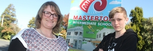 HELPING OUT: Masterton mother Sarah Bailey with her son Daniel Marsh, 14, at Masterton Intermediate School.