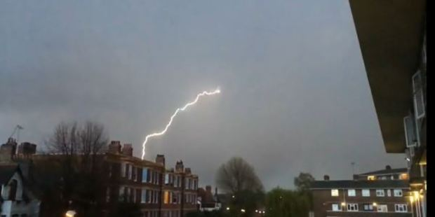 Loading A screen shot from the video showing the lightning bolt that struck an aircraft coming into Heathrow airport.