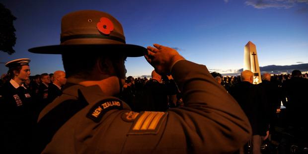 ANZAC Day Dawn Service 2014 Mount Maunganui. Staff Sergeant Mike Halliday. Photo/file