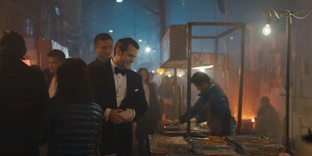 Henry Cavill filmed part of the ad in Shanghai, while Scarlett Johansson filmed in New Zealand.