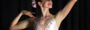 WHITE DELIGHT: Claudia Kelly is a striking figure during her dance. PHOTO/STUART MUNRO