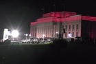 Aerial footage from the Anzac Day Dawn Service at the Auckland Museum War Memorial.