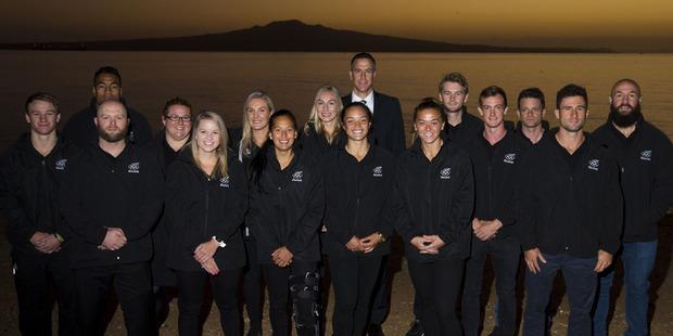 New Zealand Rio Olympic athletes at the 100 days to Rio Olympics Ceremony held at Cheltenham Beach. Photo / Brett Phibbs