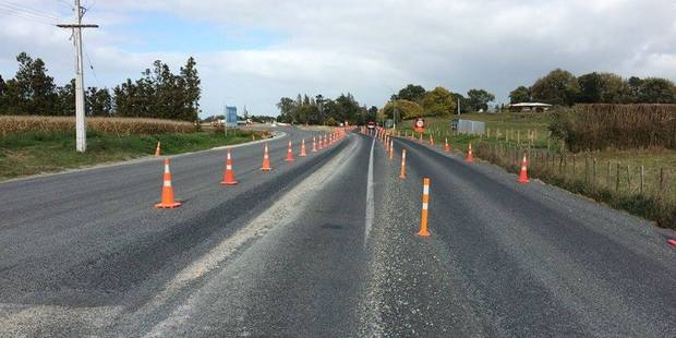 The road cones confused the driver to such an extent she had to stop her car. Photo / Te Awamutu Police Facebook
