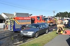 Fire crews were called to the scene of the blaze just after 9am. Photo / Peter McIntosh, Otago Daily Times