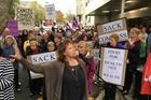 Dunedin South MP Claire Curran addresses the protesters. Photo / ODT