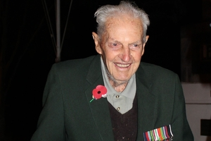 "Dannevirke World War II veteran Ivan (Bonnie) Bodley - ""going on 96"" - at the Cenotaph at 5.30am  for the dawn service."