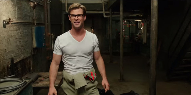 Chris Hemsworth in a scene from the upcoming Ghostbusters movie.