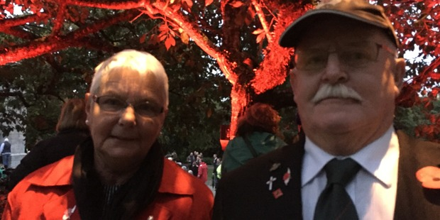 Don and Marian Macdonald attended this morning's Dawn Service in Hamilton. Photo / Belinda Feek