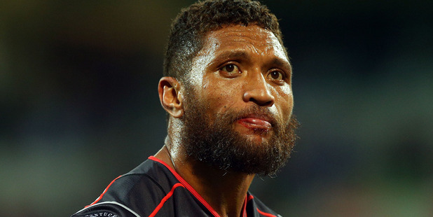 Manu Vatuvei of the Warriors looks dejected during his side's loss to the Storm. Photo /Getty