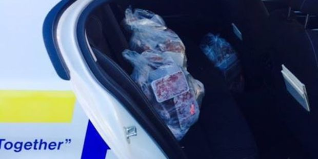 Several residents in Te Awamutu were surprised to find local police knocking on their doors today offering packages of free meat. Photo / Te Awamutu Police Facebook