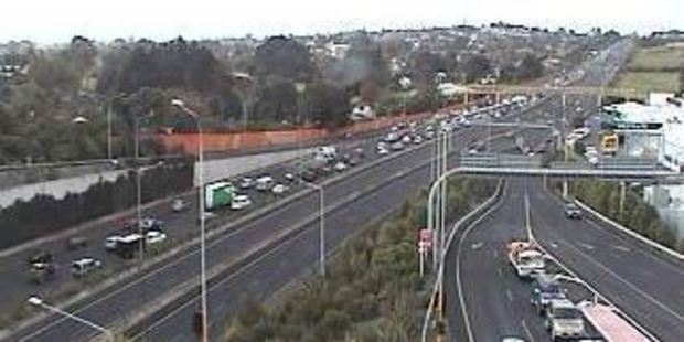 The backed up traffic on the Northwestern Motorway. Photo / NZTA