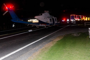 The Northland Rescue Helicopter on SH10 after a double fatal crash near Puketona Junction. PHOTO / SUPPLIED