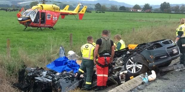 The crash happened on State Highway 27 at Te Puninga, between Morrinsville and Tahuna. Photo / Waikato Westpac Rescue Helicopter