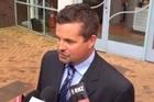 Detective Senior Sergeant Andrew Fabish speaks outside court.