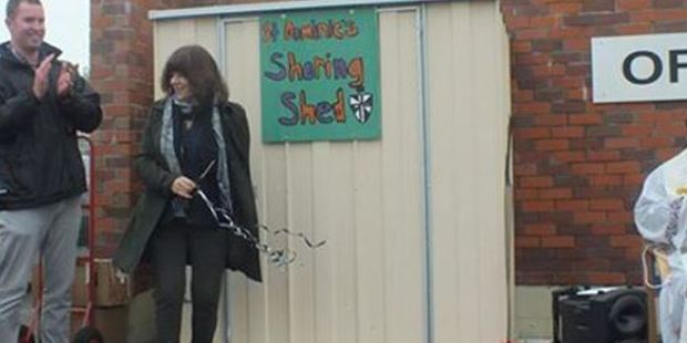 The shed which is used as a drop off for charitable items has been stolen. Photo: Facebook