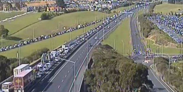Loading Motorists have been warned to avoid using the highway to get into the city. Photo / NZTA