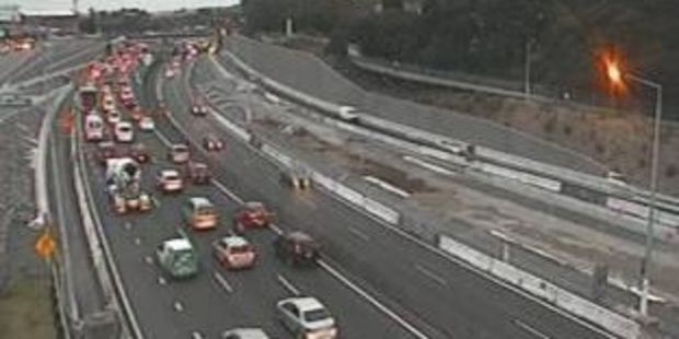 A police spokesman said the bumper-to-bumper crash happened on Auckland's Northwestern motorway. File photo