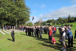 People gathered in Waihi to pay respects at the Anzac Day Civic Service. Photo/Melanie Camoin