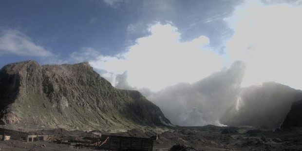 The White Island crater from the volcano camera situated at the abandoned sulphur works.