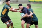 Wellsford centre Dylan Rangi finds the going tough against Mid Western flanker Johan Kotez and lock Tumama Tu'Ulua during the Bayleys Southern Districts Premier competition in Maungakaramea. Photo / Tania Whyte