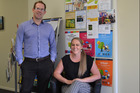 Wanganui Cancer Society manager Simon Aitken with Jane Beamsley, Community Health Advisor. PICTURE / PAUL BROOKS